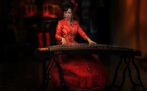 Музыка: стиль, инструмент, восточная девушка