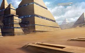 Фантастика: город, пирамиды, корабль, арт, люди, пустыня