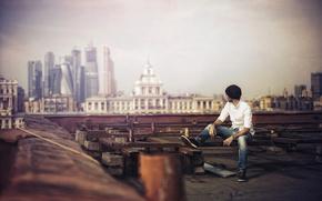 Мужчины: фотограф, город, крыша