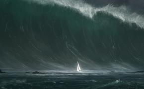 Фантастика: волна, корабль, море, парус, шторм