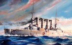 Оружие: «Шарнхорст», море, художник М.Гончаров, германского императорского флота, броненосный крейсер, рисунок, арт