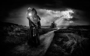 Ситуации: монастырь, тропа, фонарь, монах