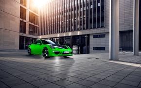 Машины: Спорткар, город, Порше, зеленый, Porsche, Здание