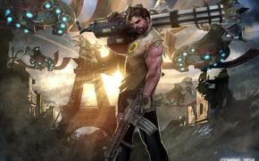 Обои Игры: рисунок, оружие, Эйфелева башня, шестистволка, борода, Инопланетные корабли, Сэмюэль Стоун, Крутой Сэм, монстры, Серьёзный Сэм, автомат