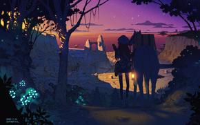 Аниме: звезды, девушка, шапка, закат, природа, город, арт, небо, деревья, лес, лошадь, аниме, огни, растения