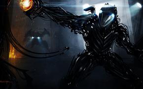 Фантастика: оружие, провода, киборг, фонари, робот, арт
