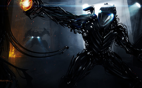 Обои Фантастика: оружие, провода, киборг, фонари, робот, арт