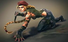 ����: Cammy, Street Fighter, sexy, girl, knife