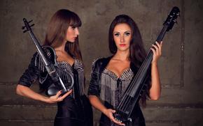 Музыка: скрипка, виологнчель, девушки, гитара, брюнетки, рок, черные, шипы