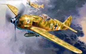 Авиация: арт, самолет, Германия, Focke Wulf Fw190 F-8