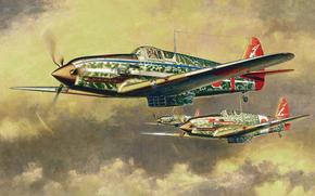 Авиация: Арт, Самолет, Япония. Japanese aircraft, Kawasaki KI-61 Hien Type I-Hei