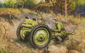 Оружие: арт, Пушка, Солдаты, Расчет, СССР, Дмитрий Дудчик, 76-мм полковая пушка