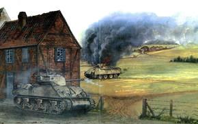 Оружие: арт, ВОВ, Танки, Дуэль, Битва, США, Германия, Sherman M4A3E2 vs  Panther, Зинглинг, декабрь 1944