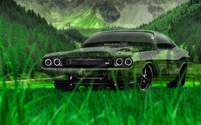 ������: Tony Kokhan, Dodge, Challenger, RS, 1970, Crystal, Nature, Car, Green, Grass, HD Wallpapers, el Tony Cars, Photoshop, Art, Design, Muscle, ���� �����, �������, ����, ���������, ���������, ����������, ������, ����������, ����, ����