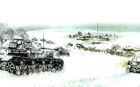 Оружие: арт, Танки, Немецкие, Еремеевка февраль 1943г, PzKpfw IV, наподение на колонну, ВОВ
