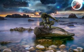 Фантастика: корабли, планета, монстр, фантастика, 3d, art