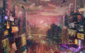 Фантастика: город, война, 3d, art
