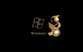 Hi-tech: ноутбук, глобус, windows, сидит, магистр, человек