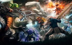 ����: dota_2, swords, fighters, girl, heroes, monsters