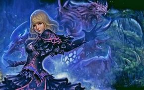 ����������: fantasy art, Girl, dragon, magic, bones, fashion