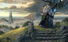 ����: legend_of_grimrock_2, wizard, tree, magic, sea