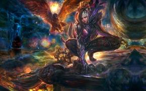����������: Chang-liu, art, eagle, girl, wings, gods, smoke, clouds