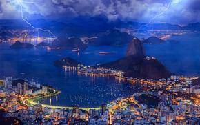 Город: Brazil, Rio de Janeiro, Бразилия, Рио-де-Жанейро, залив, вечер, небо, облака, молния