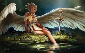 ����������: James Strehle, resting angel, art, girl, wings, water