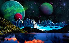Космос: озеро, горы, небо, планеты