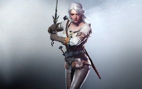 Игры: the_witcher_3_wild_hunt, games, girl, sword, magic