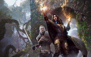 ����: The_witcher_3_wild_hunt, fire, sorceress, power, sword, girl