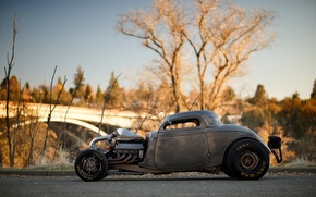 Машины: Ford, Coupe, 1934, Twin Turbo, Big Block, V8, Hot Rod, Drag Car, Side view