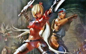 ����: X-blades_Girl, fighters, swords, monsters, fists, tight clothing