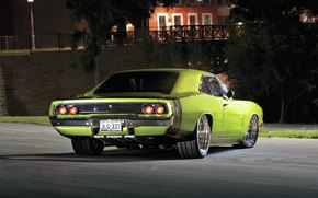 Машины: Dodge, Charger, 1968, Green, Night, Додж