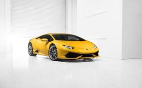 Машины: Lamborghini, Huracan, LP610-4, Supercar, 2014, Yellow, Front, Photo, Car