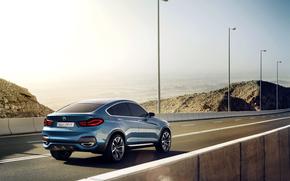 Машины: BMW, X4, Concept, Авто, Синий, Джип, Бумер, Дорога, Асфальт, Столбы, День, БМВ, Машина