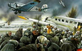 Оружие: арт, солдаты, вермахт, самолет, отступление, Сталинград, Junkers Ju-52 evacuating wounded from Stalingrad