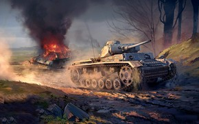 Игры: арт, танк, бой, война, War Thunder, Panzer III vs T-34-76