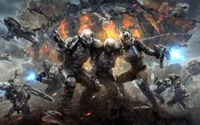 Игры: Planetside 2, fight, spaceships, lasers, explosions, cosmonauts