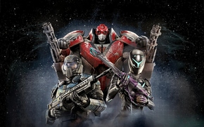 Игры: Planetside 2, cosmonauts, friends, spacesuits, pose, action