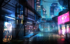 Фантастика: Киберпанк, Город, Неоновые огни
