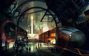 Фантастика: Киберпанк, Город, Поезд