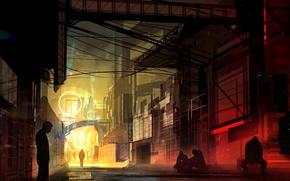 Фантастика: Киберпанк, Город, Вечер