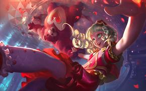 ����: League of legends, girl, hearts, love, falling, joy, teddy