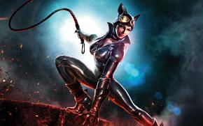 Игры: Infinite_crisis, whip, girl, leather, catwoman, boots, fire