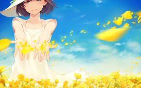 Аниме: Аниме, Девушка, Цветы