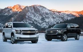 Машины: горы, 2015, Chevrolet Suburban, зима, Chevrolet Tahoe, джип