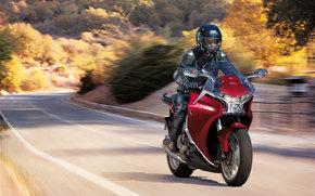 Мотоциклы: трасса, Honda, VFR1200FA, red bike
