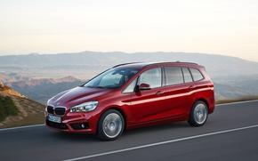 Машины: дорога, 2016, BMW, красный, 2-Series, 220i, Gran Tourer