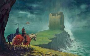 Фантастика: vsadniki, art, disaster, knights, castle, horse, sea